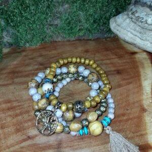 vierteiliges Perlenarmband Set in Holzoptik Baumanhänger und Quaste